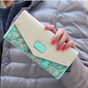 Handbags - Turquoise and White Floral Clutch/Wallet